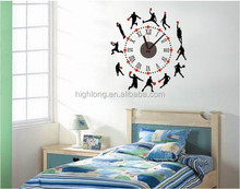 Children's Room Decor Clock with basketball playing design Wall Sticker Clock