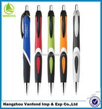 office order sample plastic ball pen with logo and with colorful grip