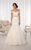 New Arrival Elegant sweetheart Off the Shoulder sleeveless wedding dress Crystal Belt Lace Mermaid Wedding Dress 2015