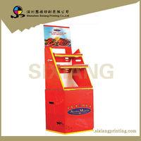 Professional Design and Printing POS Corrugated Retail Advertising 3 Trays Cardboard Shelf Display