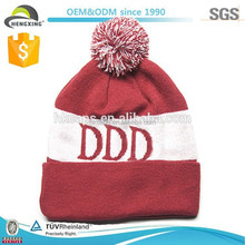 High Quality striped maroon knit beanie bobble hat