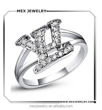 Custom Initial Double Letter L and V White 18K Platinum Plated Pave Cubic Zirconia Crystal Ring