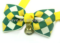 V1006 Fashion Pet Bow Tie Cat and Dog Collar Square Block Golden Bell Blue Coffee Green Drop Shipping