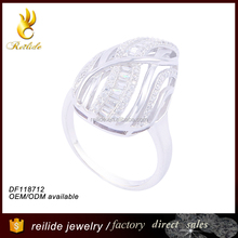 [Reilide]White zircons pave wedding anniversary gift 925 sterling silver infinity hippie stone engagement ring design 2012