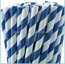 Navy bule Striped Paper Straws