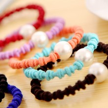 best price for hair decoration rubber with pearl elastic hair rubber band for hair