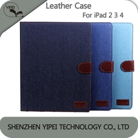 Best Price Flip Phone Case For Apple iPad 2 3 4 Stand Case Denim Pattern Leather Case For iPad 2/3/4 manufacturer price