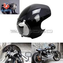 ZJMOTO Cafe Drag Headlight Fairing Custom Visor Sportster Dyna Black Motorcycle Headlight Fairing Mask Front Cowl Headlamp Visor