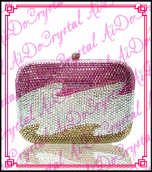 Aidocrystal handmade double use pave hard case evening clutch clutch/tote/ /purse/handbag/bag