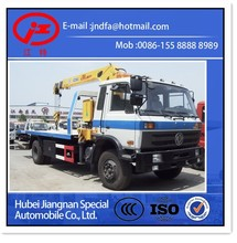 Flat bed road wrecker with cargo crane truck JDF5121TQZG dongfeng Wrecker