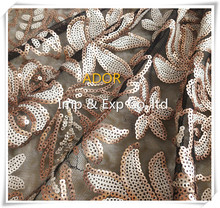 2015 HOT SALE 100%POLYESTER MESH WITH SEQUIN EMBROIDERED LACE FABRIC EMBROIDERY DESIGN