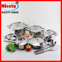 Hot sell with high quality 15pcs stainless steel cookware set /cooking pot /fry pan
