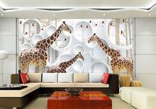 Arte del metal diseños decoraciones de la pared 3d giraffe pared de imágenes mural, imprimible murales de pared