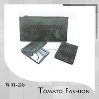 Dark green genuine leather card holder unisex wallet