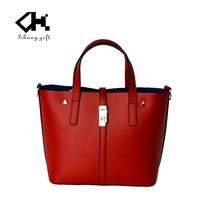 Custom printed brand elegant red women hand bag 2016