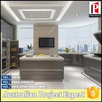 Foshan furniture high gloss METALLIC lacquer kitchen set