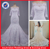 AM0604 Real picture off shoulder 3/4 sleeve lace mermaid wedding dresses patterns