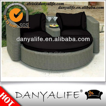 DYBED-D120F Wicker Garden Patio Sun Bed Rattan Outdoor Leisure Double Daybed Cane Swimming Pool Lounger Bed Round Beach Sun Bed