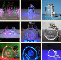 Alibaba express crystal keychain glsss key chains with 30mm led light 3d laser as custom personalized(R-0828)