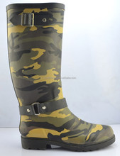 Camo Rubber Rain Boots with buckle strap