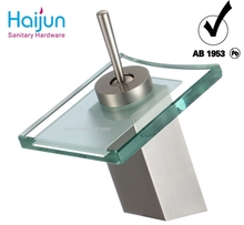 Single Handle Square Glass Waterfall Basin Faucet