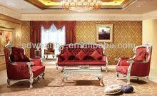 alta- final 1 seater+2 seater+3 plazas sofá de madera sólida/antigüedades de lujo chesterfield sofá de la tela conjunto sf-083