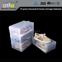 Folding stackable clear hard plastic shoe box