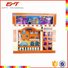 Hot selling kids plastic dollhouse toy plastic doll house with furniture