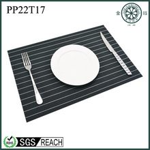 White stripe black PVC recycled plastic placemat high grade placemat