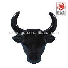 pottery cow head animal wall decoration