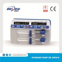 Advanced CE approved portable double dual channels syringe pump