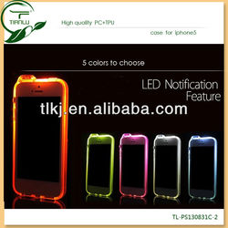 2014 Beautiful bright colors Hard Colorful led Case for iphone 5 with hole back cover