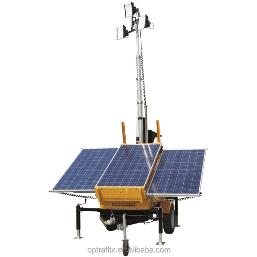 Mobile Telescopic Light Tower With Solar Panels Led Light