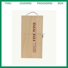 2014 cheaper pine wooden wine box/ wine case for 2 bottles