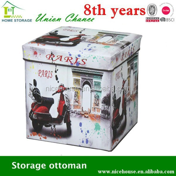 2015 new kids storage ottoman with paris style for seat