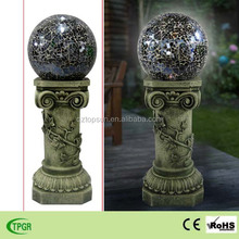 Hot solar light with mosaic polyresin pillar blue glass ball for garden decoration led crafts