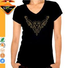 Stylish neckline rhinestone decorated slim fit 100% cotton t-shirt