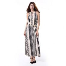 Latest Design Sleeveless Fashion Stripes Dress
