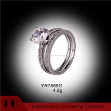 Conjuntos de anillo de plata anillo de bodas