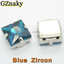12x12mm Blue Zircon Square metal crystal for Hair Claw
