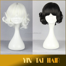 White and Black Short Curly Synthetic Wig Kanekalon synthetic Short Wigs Curly Wig Synthetic