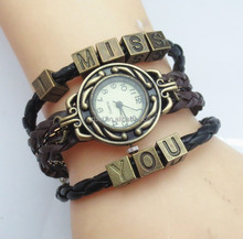 Newest Design Antique Bronze Letter Beads I Miss You Charm Bracelet Wrist Watch