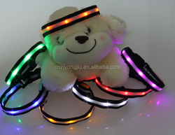 High quality shockproof pink reflective led pet collars for dogs,cats with flash model