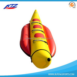 2 riders durable PVC inflatable water products small banana boat fly fish