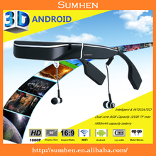 3D Smart Video Glass the World's smallest portable 3d mobile theater, mini pc, android tv dongle