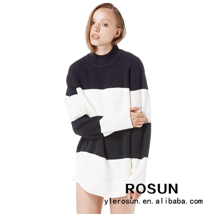 Europea para mujer de punto amplia striped jumper acrílico suéter mujeres tops