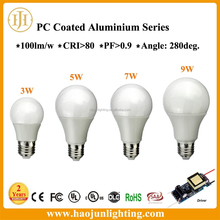 China hot selling cheaper price CRI>80 PF>0.9 100LM/W 280deg. beam agnle 5W 7W 9W 12W E27 led lighting bulb