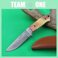 Damascus Steel Fixed Blade Knife w/Buffalo Horn Handle w/ Sheath