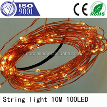China best sell Artificial LED decorated Christmas tree light 10m 100leds led copper wire light