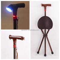 Folding Adjustable Aluminum Seat Cane with Flashlight for Old People